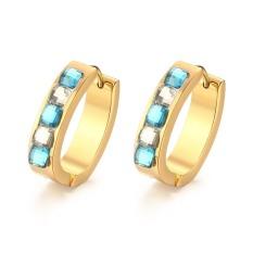 Fashion Blue Anting Batu untuk Wanita Stainless Steel Berlapis Emas Wanita Cincin Anting-Anting-Intl