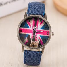 Situs Review Fashion Merek Men S Retro Perunggu Inggris Bendera Pola Dial Kasual Kain Tali Quartz Watch Mahasiswa