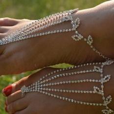 Modis Pengantin Paduan Bertelanjang Kaki Sandal Kaki Perhiasan Pergelangan Kaki Gelang Pantai-Internasional
