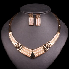 Fashion Choker Warna Emas Anting-Anting Kalung Set Dubai Bridal Perhiasan Set Pernikahan Dekorasi Perhiasan Hadiah Natal untuk Wanita-Intl