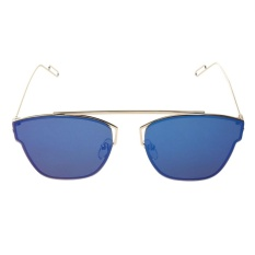 Fashion Colorful Flat Sunglasses (Biru Quicksilver)-Intl