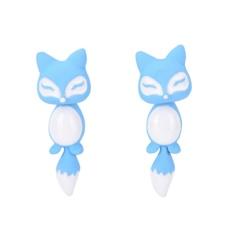 Fashion Colorful Bijoux 3D Lucu Kecil Fox Stud Anting untuk Gadis Fine Jewelry Blue-Intl