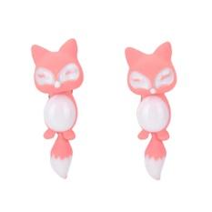 Fashion Colorful Bijoux 3D Lucu Kecil Fox Stud Anting untuk Gadis Fine Jewelry Pink-Intl