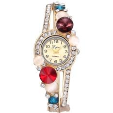 Fashion Contracted Mahal QUARTZ Alloy Diamond Bunga Gelang Wrist Watch-Intl