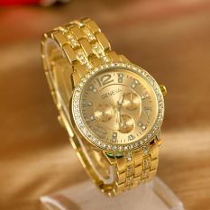 Jual Fashion Crystal Dial Gold Wrist Watch Gift Satu Set