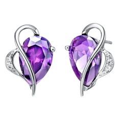 【Bln-Jewelry】fashion Kristal Anting-Anting Anting-Anting Perhiasan Perhiasan Jantung Shaped Platinum Disepuh LAZADA