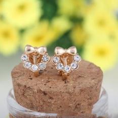 Fashion Cute Bowknot Penuh Berlian Imitasi Klip Pada Anting-anting Bantal Anting untuk Anak Perempuan Bayi Tanpa Pierce Ear Clip Korea Gaya -Intl