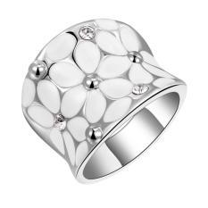 Miliki Segera Fashion Elegan Kristal Putih Bunga Cincin Putih Berlapis Emas Wanita Ukuran 7
