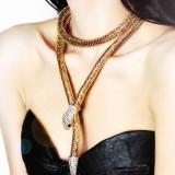 Harga Fashion Berlebihan Dual Purpose Emas Sliver Panjang Bentuk Ular Kalung Emas Internasional Baru