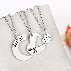 Fashion Gadis Big Tengah Little Sister 3 Pcs Set Pendant Kalung Persahabatan Hadiah 3 Pcs Set-Intl