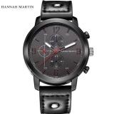 Jual Fashion Hannah Martin Pria Tanggal Stainless Steel Kulit Analog Quartz Sport Wrist Intl Online Di Tiongkok