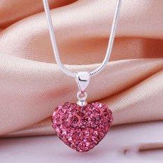Fashion Kristal Hati 925 Perak Berkilau Ular Rantai Kalung Liontin Perhiasan