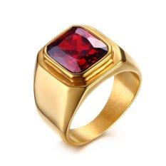 Fashion Ditiru Garnet Pria Perhiasan Pria Super Red Stone Titanium Steel dengan Berlapis Emas Dipoles Pria Cincin Hadiah- INTL