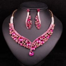 Fashion Perhiasan India Anting Kalung Kristal Bridal Perhiasan Set Pernikahan Dress Aksesoris Kostum Dekorasi untuk Brides-Intl