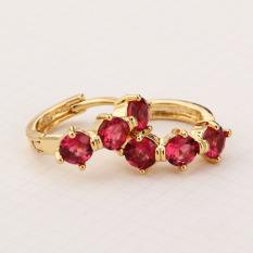 Anting-Anting Fashion Perhiasan Mewah Lucu Yang Dapat Membuat Orang Yang Melihatnya Tertawa Terbahak-bahak atau Justru Kesal Karena Merasa Merah CZ Kristal 18 Karat Berlapis Emas Hoop