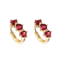 Perhiasan Modis Mewah Cute Merah CZ Crystal 18 K Berlapis Emas Anting-Anting Hoop untuk Anak Perempuan-Intl