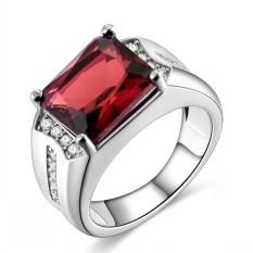 Fashion Perhiasan Pria 18 K Emas Putih Disepuh Garnet Red CZ Kawin Cincin U.S. Ukuran 8-15 -Intl