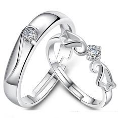 Fashion Pecinta Cincin Perak Adjustable Beberapa Cincin Perhiasan E005-Intl