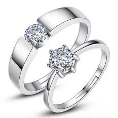 Fashion Pecinta Cincin Perak Adjustable Beberapa Cincin Perhiasan E013-Intl