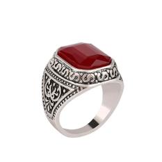 Fashion Pria Cincin Punk Vintage Merah Permata Cincin Jari dengan Berlian Imitasi Merah 18mm-Intl