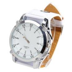 Spesifikasi Fashion Men Pu Tombol Bulat Besar Tali Kulit Jam Kuarsa Putih Lengkap Dengan Harga