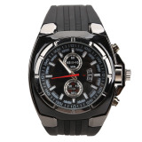 Beli Fashion Men Sports Rubber Strap Quartz Dial Wrist Watch V6 0048 Black Cicilan