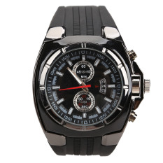 Promo Fashion Men Sports Rubber Strap Quartz Dial Wrist Watch V6 0048 Black Tiongkok