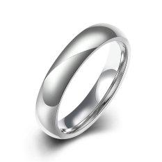 Fashion Pria Wanita Pernikahan Cincin 4mm Lebar Klasik Titanium Perhiasan, Warna Perak