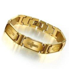 Review Busana Pria Perhiasan Titanium Emas Cross Gelang Intl