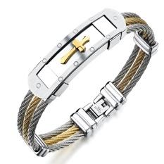 Beli Fashion Pria Stainless Steel Gelang Punk Heavy Metal Gold Silver Warna Cross Bangles Untuk Pria Aksesoris Perhiasan Intl