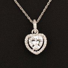 Fashion Dilapisi Mikro Liontin Kristal Bentuk Hati Kalung untuk Wanita Wanita 18 K Lapis Emas Putih Kalung Valentine Hadiah XL013-Intl