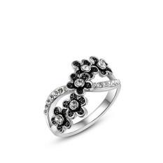 Fashion Baru Bunga Platinum Plated Diamond Hadiah Ulang Tahun Perhiasan Cincin (Platinum Warna)