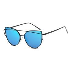 Harga Fashion New Metal Color Film Glasses Men And Women Retro Style Sunglasses Bright Black Frame Ice Blue Intl Terbaru