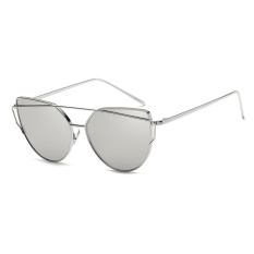 Cuci Gudang Fashion Baru Logam Warna Film Kacamata Pria And Women Retro Style Sunglasses Silver Frame Putih Mercury