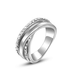 Fashion Baru Round Cut Platinum Berlapis Diamond Pernikahan Partai Perhiasan Cincin (Platinum Warna)