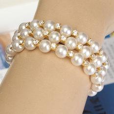 Fashion gaya baru mutiara berlian imitasi pengantin gelang manset emas pernikahan 3Row - Internasional
