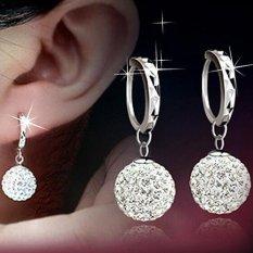Fashion Baru Wanita Crystal Emas Perak Berlian Imitasi Sterling Perhiasan Elegan Hoop Earrings Piercing Berlapis Klip Hidung Zirkon Ring Cuff STUD Hoop Earring (Multicolor) -Intl