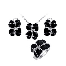 Fashion Ornamen Elegan Wanita Perhiasan Set Anting Kalung Cincin Putih Emas Black Rose Kit
