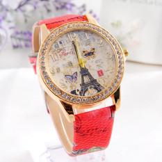 Fashion Paris Style Tower Butterfly PU Kulit Jam Tangan Wanita Merah