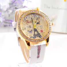 Fashion Paris Style Tower Butterfly PU Kulit Jam Tangan Wanita Putih
