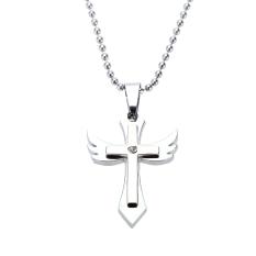 Fashion Personalized Cross Angel Wing Pendant Kalung Rantai Vintage Retro Punk Pria Wanita Terlalu Perhiasan Aksesori