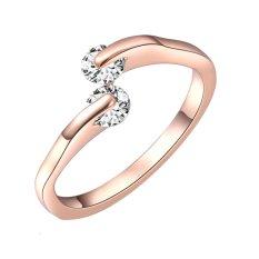 Cincin Pernikahan Cantik Perhiasan Wanita Klasik Warna Rose Gold CZ Sepasang Cincin Sederhana Ukuran US 7-Intl