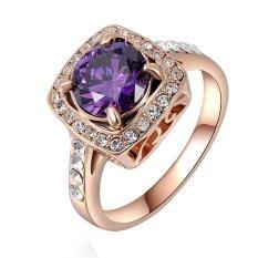 Cincin Pernikahan Cantik Perhiasan Wanita Klasik Kotak Warna Ungu Rose Gold Ukuran US 6