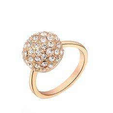 Cincin Pernikahan Cantik Perhiasan Wanita Klasik Warna Rose Gold Cincin Berlian Tunggal Ukuran US 7