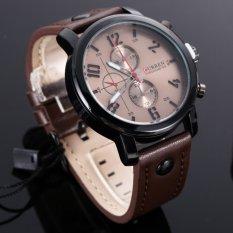 Spesifikasi Fashion Jam Kuarsa Curren Kulit Jam Tangan Laki Laki Coklat Yang Bagus Dan Murah
