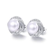 Fashion Rose Desain Simulated Pearl Earrings untuk Wanita Inlaid Mempesona Karat untuk Bridesmaid Pacar HD683-