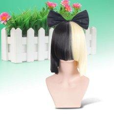 Spesifikasi Fashion Sia Ini Bertindak Hitam Dan Blonde Cosplay Wig Pendek Halloween Wanita Intl Murah