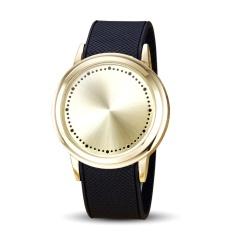 Fashion Silica Gel Band Digital Layar Sentuh LED Wristwatch Pohon Unik Wrist Watch Blue Light Men Watches (Emas) -Intl
