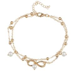 Fashion Sederhana untuk Semua Kegiatan Infinity Anklet Kreatif Berlapis Perak Goldplated Double Chain Cross Bentuk Gadis Cantik Musim Panas Beach Travel Gelang Perhiasan- INTL