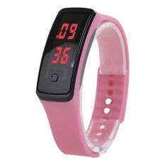 Fashion Sport LED Wanita Tali Pengikat Karet Silikon Layar Sentuh Jam Tangan Gelang Digital Berwarna Merah Muda